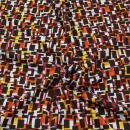Viskose Jersey braun/gelb/orange Vierecke