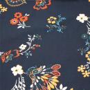 Viskose dunkel blau mit Blumenmuster