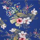 Baumwolle mit Elastan blau Blumenmuster