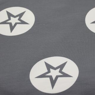 French Terry grau große Sterne