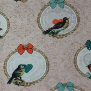 Dekostoff Canvas Vogel im Kreis