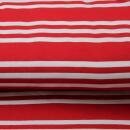 Baumwolljersey Drei Streifen rot weiss