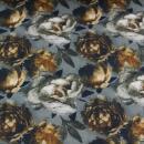 Baumwolljersey grau braun Rosen Digitaldruck