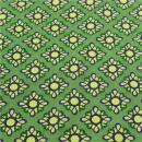 Baumwollstoff grün, gelb lila Ornamente