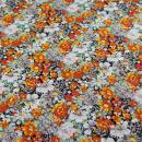 Baumwollstoff Blumen gelb grau
