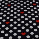 Jersey Punkte Herzen auf dunkel blau