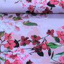 Baumwollsatin Blumen auf rosa