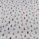 Baumwollstoff weiss kleine Schiffe