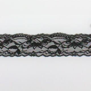 Elastische Spitze in schwarz 6 cm. breit