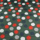 Weihnachtsstoff  Baumwolle Baumkugeln auf grün