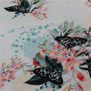 French Terry Schmetterlinge  Blumen auf hell