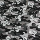 Baumwollstoff Camouflage Totenkopf grau