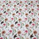 Baumwollstoff Blumen auf weiß