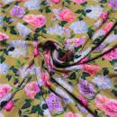 Viskosejersey Rosen auf gelb