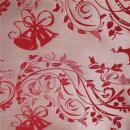 Tischdeckenstoff glänzend, rot mit Motiv