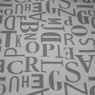 Jacquardstoff Deko, grau, Buchstaben