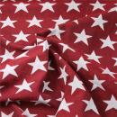 Dekostoff Jacquard, Sterne zweiseitig rot