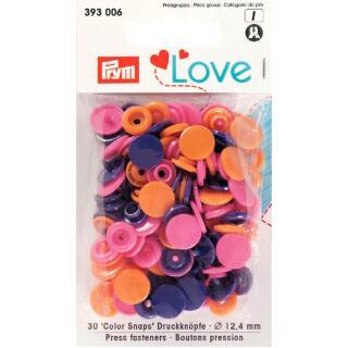 Druckknöpfe Color Snaps Love rund 12,4mm orange, pink, violett Prym