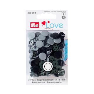 Druckknöpfe Color Snaps Love rund 12,4mm grau, schwarz Prym