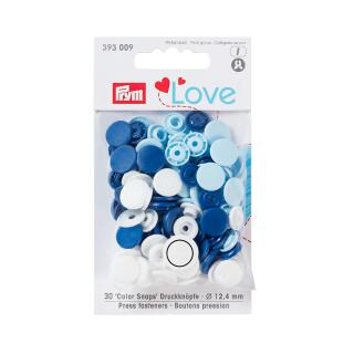 Druckknöpfe Color Snaps Love rund 12,4mm blau, weiß, hellblau Prym