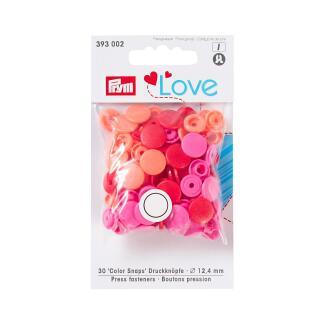 Druckknöpfe Color Snaps Love rund 12,4mm rosa, rot Prym