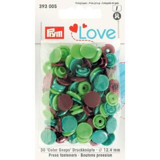 Druckknöpfe Color Snaps Love rund 12,4mm grün, hellgrün, braun Prym
