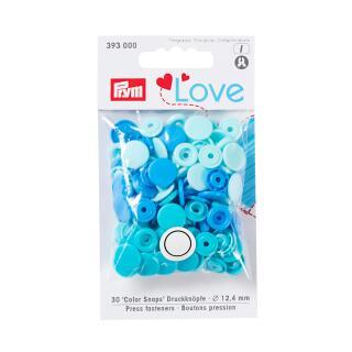 Druckknöpfe Color Snaps Love rund 12,4 mm blau Prym