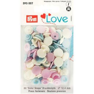 Druckknöpfe Color Snaps Love rund 12,4mm rosa, hellblau, perle Prym