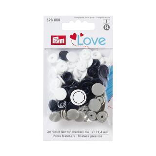 Druckknöpfe Color Snaps Love rund 12,4mm marine, grau, weiß Prym