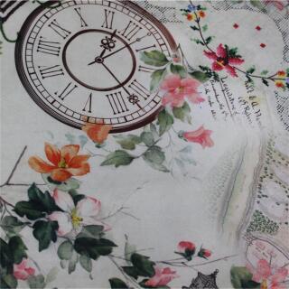 Dekostoff Postkarte, Uhren, Blumen
