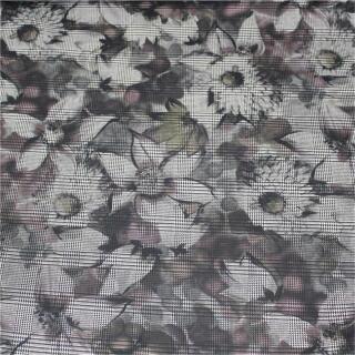 Stretchstoff Karo mit Blumen, in Druck