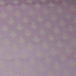 Baumwollstoff franzosische Ornamente beige auf lila