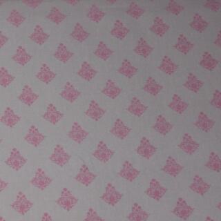 Baumwollstoff rosa auf beige